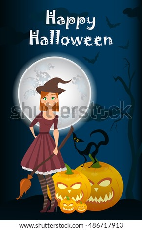 Halloween background of Witch on the full moon. Vector. young happy and attractive witches, vector Halloween collection