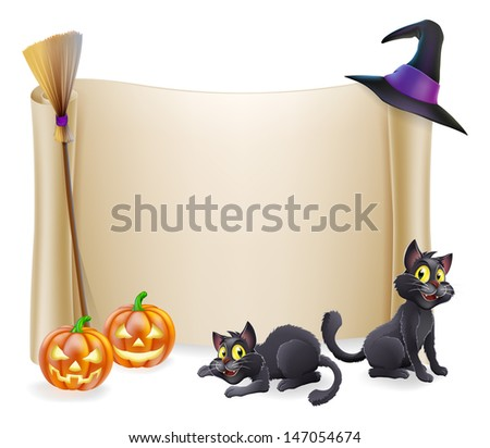 Halloween background scroll sign with witch hat, broomstick, carved orange pumpkins and witch's black cats  - stock vector