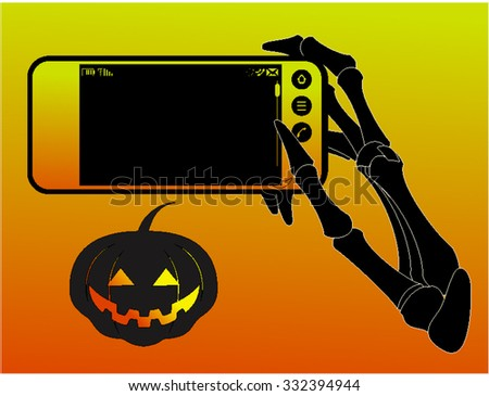 Halloween background.Smart Phone With Blank Screen Isolated - stock vector