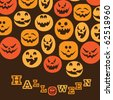 Halloween Background - Various Colorful Teeth Smiling Spooky Pumpkin Faces - stock vector