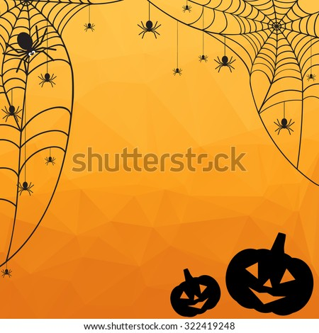 Halloween Background. Vector Halloween orange polygonal mosaic  background with spiderweb, spiders and pumpkins - stock vector