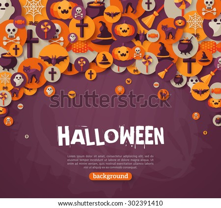 Halloween Background. Vector Illustration. Flat Halloween Icons in Circles on Dark Chalkboard Textured Backdrop. Halloween Concept. Trick or Treat. Orange Pumpkin and Spider Web, Witch Hat. - stock vector