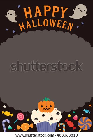 Halloween background, Vector illustration, Flat halloween icons with frame, Trick or treat concept, orange pumpkin and candy