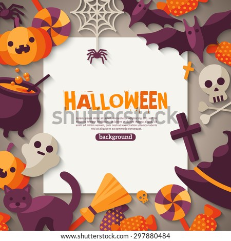Halloween Background. Vector Illustration. Flat Halloween Icons with Square Frame. Trick or Treat Concept. Orange Pumpkin and Spider Web, Witch Hat and Cauldron, Skull and Crossbones. - stock vector