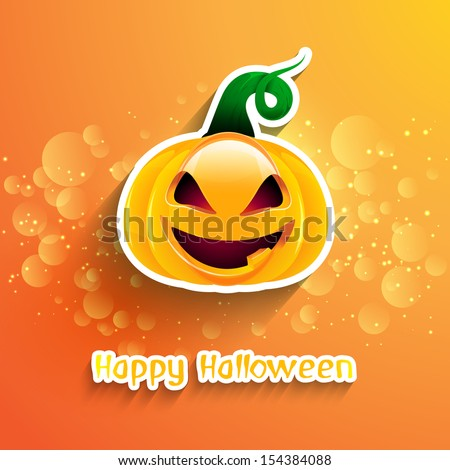 Halloween background with a spooky pumpkin - stock vector