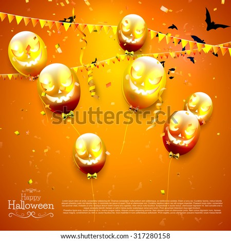 Halloween background with balloons - stock vector
