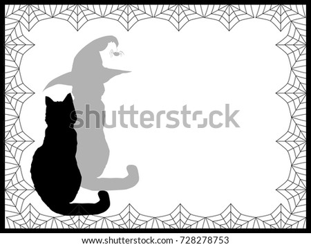 Halloween background black silhouette cat his stock vector halloween background with black silhouette of cat and his shadow in witch hat on white pronofoot35fo Image collections