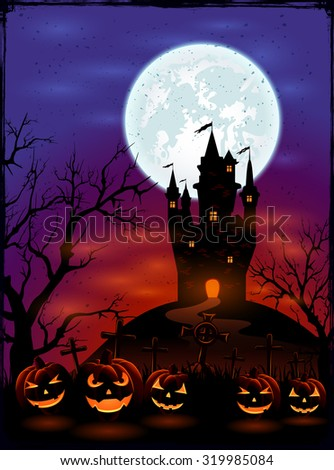 Halloween background with castle, Moon and pumpkins on graveyard in dark night, illustration. - stock vector
