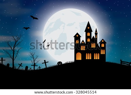 Halloween background with castle, pumkin, bats and big moon. Vector illustration