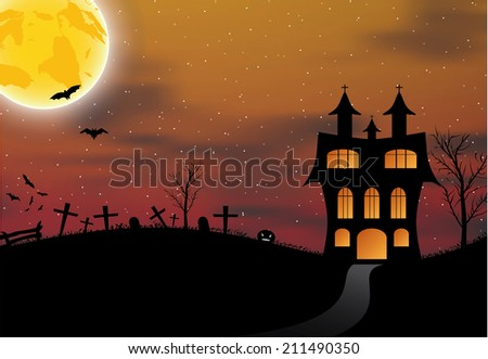 Halloween background with castle, pumpkin, bats and big moon. Vector illustration
