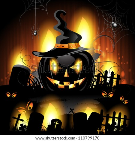 Halloween background with cemetery and pumpkin - stock vector