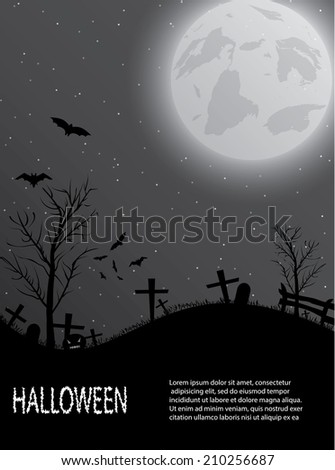 Halloween background with cemetery, pumpkin, bats and big moon. Vector illustration