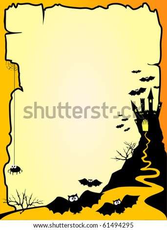 Halloween background with customizable page, vector - stock vector