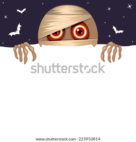 Halloween background with cute red googly eyes mummy - stock vector