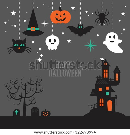 Halloween background with decorative elements for design. Vector illustration - stock vector