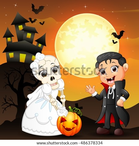 Halloween background with female skull bride holding pumpkin and little boy dracula .Vector illustration
