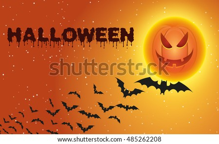 Halloween background with flying bats over full pumpkin moon. Vector illustration