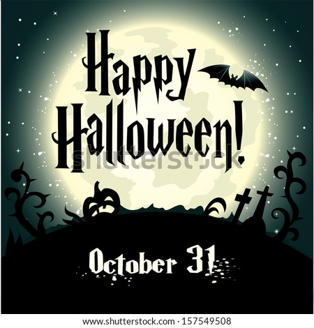 Halloween Background with full moon - stock vector