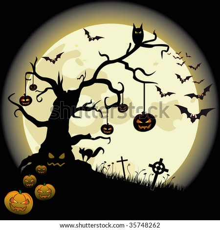 Halloween background with full moon and many fear objects. - stock vector