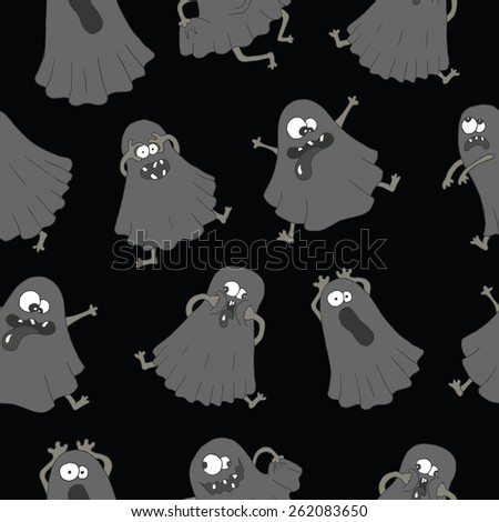 Halloween background with funny ghosts making silly faces on black, seamless pattern - stock vector