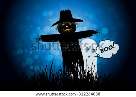 Halloween Background with Ghost and Scarecrow. Landscape.