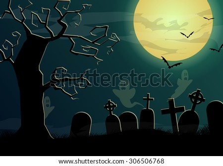 Halloween background with ghosts on cemetery