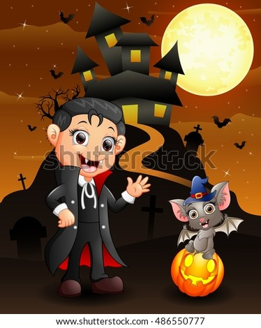 Halloween background with happy child bats and witch boy dracula.Vector illustration