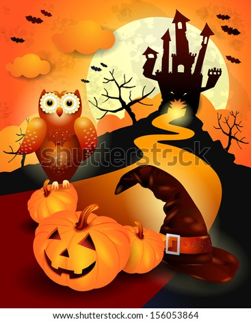 Halloween background with hat, pumpkin and owl. Vector - stock vector