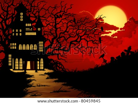 Halloween background with haunted house and cemetery - stock vector
