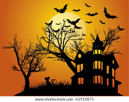 Halloween background with haunted house, bats and pumpkin - stock vector