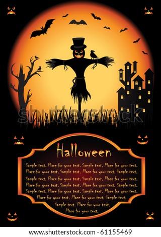 Halloween background with Jack O' Lantern, illustration - stock vector