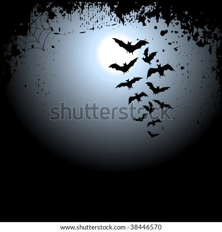 Halloween background with moon and bats - stock vector