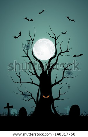 Halloween background with ominous tree in the cemetery - stock vector
