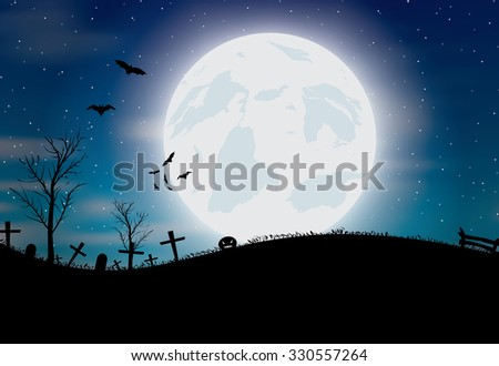 Halloween background with pumkin, bats and big moon. Vector illustration