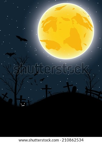 Halloween background with pumpkin, bats and big moon. Vector illustration