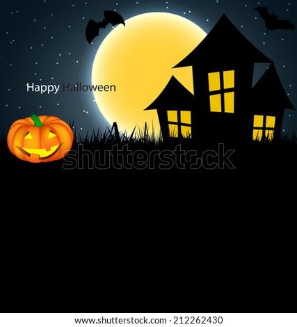 Halloween Background with Pumpkin Vector Illustration  - stock vector