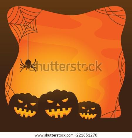 Halloween Background with Pumpkins - stock vector