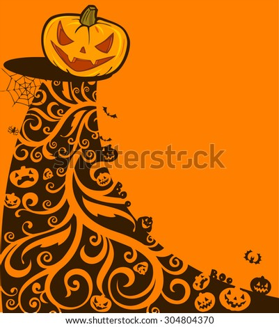Halloween background with pumpkins and ornaments. Vector illustration.  - stock vector