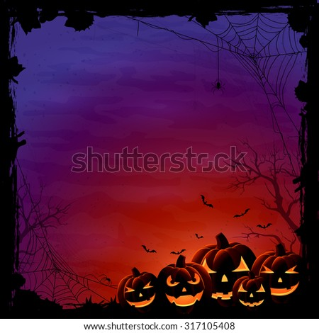 Halloween background with pumpkins and spiders, illustration. - stock vector