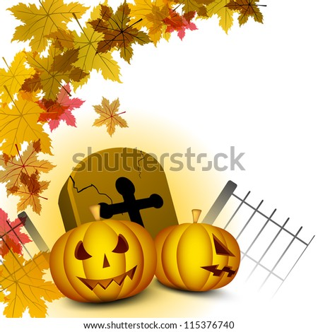 Halloween background with pumpkins, gravestone and autumn leaves. EPS 10.