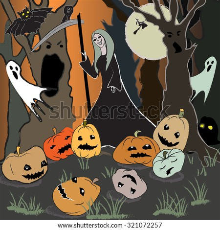 Halloween background with pumpkins, scythe man, ghosts, and magic night forest. Atmospheric image for halloween party invitation card.