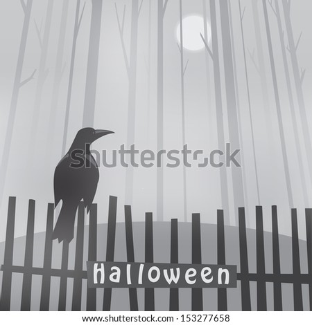 halloween background with raven on fence - stock vector