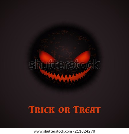 Halloween background with scary face. Perfect for poster banner or flyer design. Vector illustration - stock vector