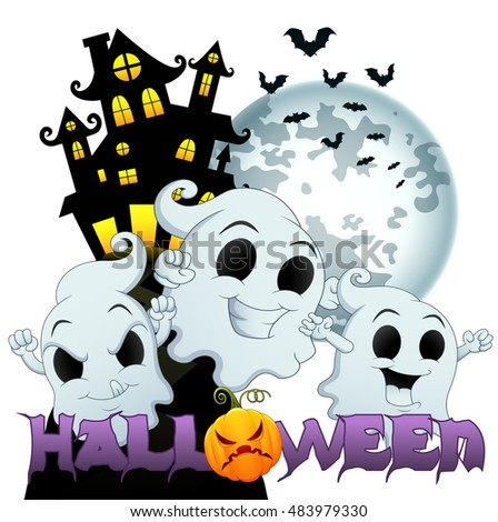 Halloween background with scary house halloween and ghosts.Vector illustration