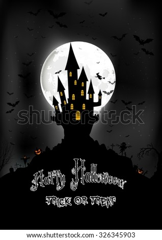 Halloween background with scary house on the full moon. Vector