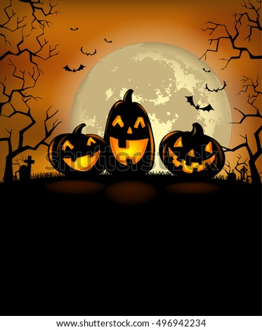 Halloween background with scary pumpkins and a full moon