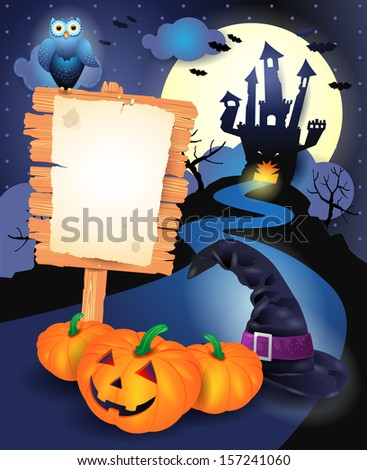 Halloween background with sign, vector  - stock vector
