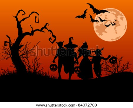 Halloween background with silhouettes of children trick or treating in Halloween costume - stock vector