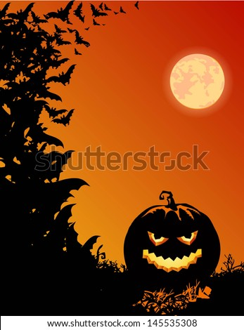 Halloween background with smiling pumpkin - stock vector