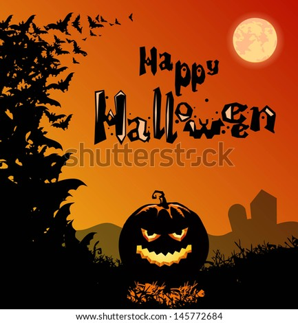 Halloween background with smiling pumpkin. Vector illustration - stock vector
